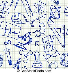 wissenschaft, doodles, seamless, muster