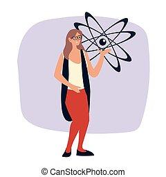 wissenschaftler, brille, frau, molekül, atom, design