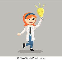 Wissenschaftlerin mit Glühbirne.
