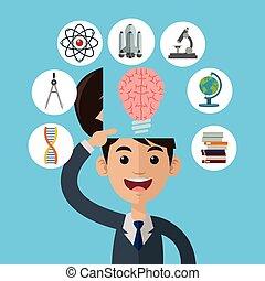 Wissenschaftsdesign. Farbvolle Illustration. Kartoon Ikone