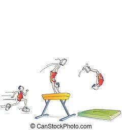 Witziger Mann, der Gymnastik macht