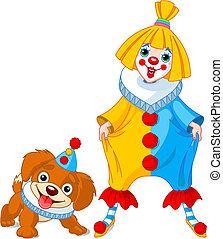 Witziges Clown-Mädchen und Clown-Hund