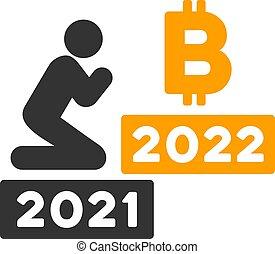 wohnung, 2022, beten, bitcoin, vektor, ikone, mann