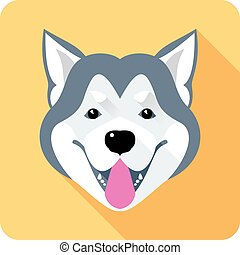wohnung, alaskisch, hund, malamute, design, ikone