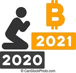 wohnung, beten, bitcoin, vektor, 2021, ikone, mann