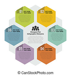 wohnung, element, infographic, sechseck