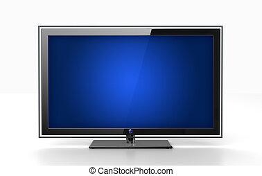 wohnung, fernsehapparat, -, freigestellt, front, weißes, ansicht