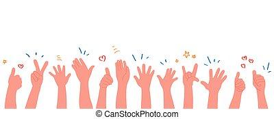 wohnung, hands., applaudieren, menschliche hände, abbildung, clapping., vektor, stil