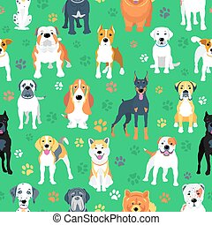 wohnung, hunden, design, seamless, muster