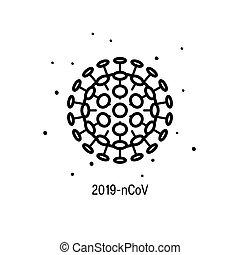 wohnung, ikone, vektor, 2019-ncov, wuhan, stil