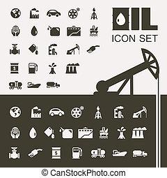 wohnung, industriebereiche, oel, satz, ikone
