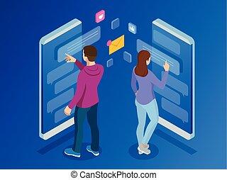 wohnung, isometrisch, frau, service, beweglich, sms, nachrichten, abbildung, kurz, bubbles., leben, vektor, vortrag halten , tippen, nachricht, chat., smartphone., mann