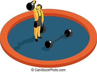 wohnung, isometrisch, weight., strongman, vektor, heben, 3d