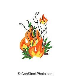 wohnung, katastrophe, bäume, feuer, vektor, wald, ikone