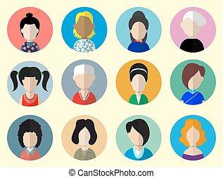 wohnung, kreis, satz, women., heiligenbilder