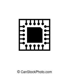 wohnung, mikrochip, vektor, platine, cpu, ikone
