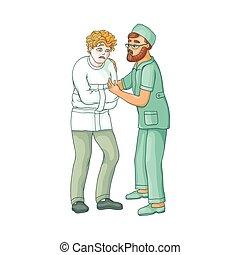wohnung, patient, geistig, doktor, umarmen, vektor