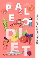 wohnung, produkte, vektor, früchte, gemüse, brochure., concept., gehen, diät, meeresfrüchte, fleisch, ernährungswissenschaftler, flieger, banner, wasser, essende, paleo, doktor, höhle, abbildung, karikatur, ungefähr, plakat, gesunde, leute