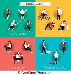 wohnung, satz, körperliche aktivität