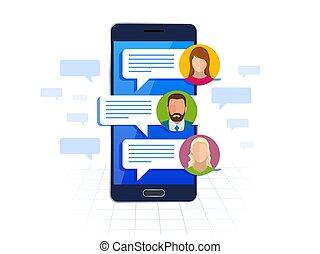 wohnung, smartphone, service, nachrichten, concept., sms, abbildung, kurz, bubbles., vektor, vortrag halten , chating, messaging, nachricht