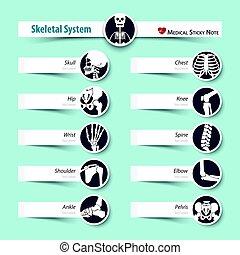 wohnung, stil, skelettartig, medizinisches system, klebrige notiz, design
