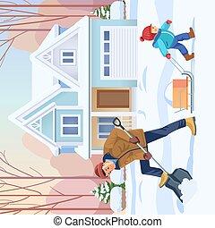 wohnung, vektor, glücklich, arbeit, child-rearing., family., vaterschaft, junge, vati, vater, abbildung, sohn, activity., karikatur, draußen, zusammen., schnee, yard., begriff, reinigt