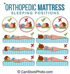 wohnung, verschieden, vector., support., eingeschlafen, rückgrat, bed., body., mattresses., freigestellt, krümmung, spine., orthopädisch, gesundheit, abbildung, menschliche , pillow., matratze, bequem, korrekt, position.