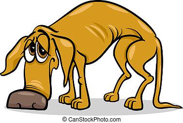 wohnungslose, traurige , karikatur, abbildung, hund
