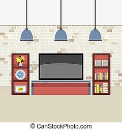 Wohnzimmer mit Vektorgrafik.
