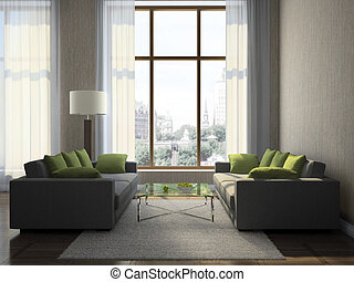 wohnzimmer, teil, modern