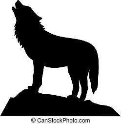 wolf, heulen, stehende