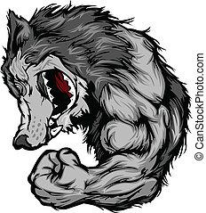 Wolf-Maskottchen-Flexing-Arm-Cartoon