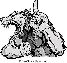 Wolf Maskottchen-Körpervektor Cartoon