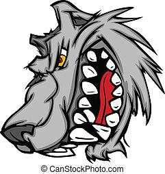 Wolf Maskottchen Vektor Cartoon mit Sna