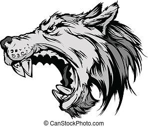 Wolf Maskottchenkopfvektor Cartoon