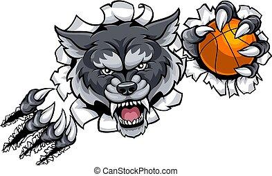 Wolfs-Basketball-Maskottchen.