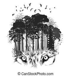 Wolfs Silhouette im Wald