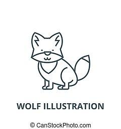 Wolfs-Vektor-Lesezeichen, lineares Konzept, Umrisszeichen, Symbol.