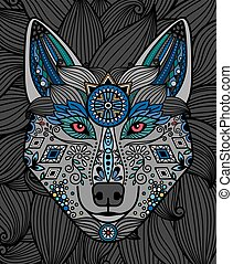 Wolfskopf mit Ornamentmuster-Design