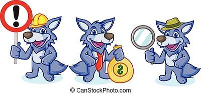 Wolfsmascot-Vektor mit Zeichen.