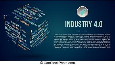 wolke, 4.0, würfel, bedingungen, über, farbe, wort, hintergrund, industriebereiche, 3d, vektor, blaues