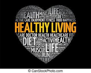 wolke, fitness, lebensunterhalt, herz, gesunde, sport, wort