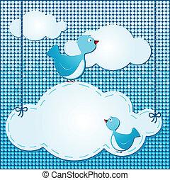 Wolken im Hintergrund mit süßen Vögeln