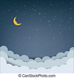 wolkenhimmel, karikatur, himmelsgewölbe, sternen
