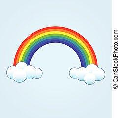 wolkenhimmel, regenbogen, klassisch, einfache , vektor