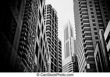 Wolkenkratzer, typische Stadtstadt
