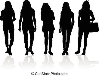 woman., silhouette