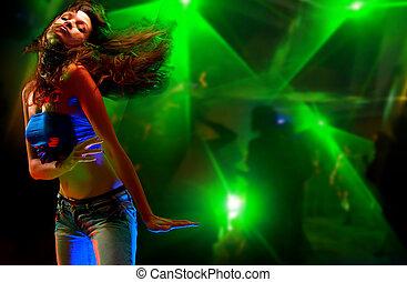 woman, tanzt, junger, nachtclub, schöne