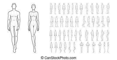 women., maenner, 50, mode, schablone