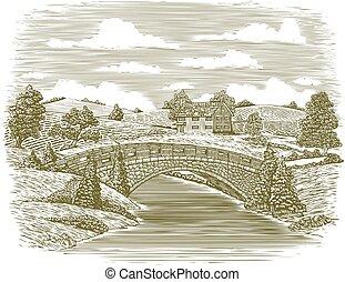 Woodcut Bridge Szene.